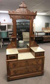 Antique Eastlake Victorian Marble Top Dresser