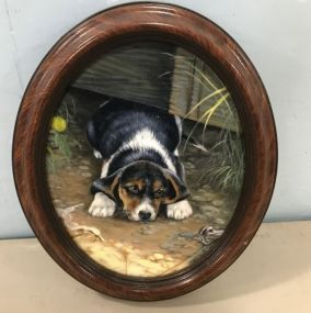 Oval Dog Painting Unsigned