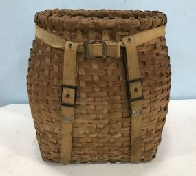 Unique Old Woven Adirondack Trapper's/Back Pack Basket