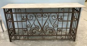Large Rustic Iron Marble Top Console Table