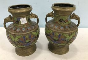 Pair of Old French Chinoiserie  Vases