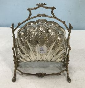 Victorian Style Silver Plated Shell Folding Biscuit Box