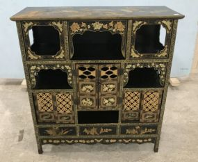 Oriental Black & Gold Display Cabinet