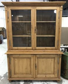 Large Farmhouse Pine China Cabinet