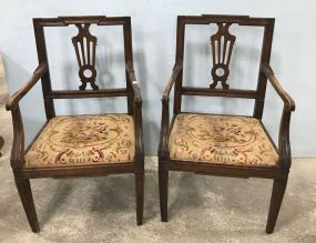 Pair of Antique French Style Oak Arm Chairs
