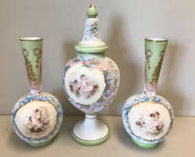 Antique Three Piece Hand Painted French Opaline Glass Mantel Set
