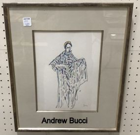 Andrea Bucci (1922-2014) Pen and Watercolor Woman