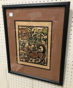 Walter Anderson Alphabet D, Dog Hand Colored Print