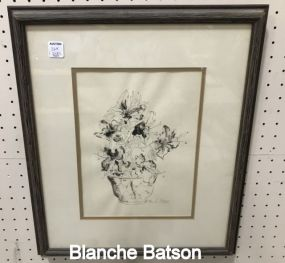 Blanche Batson Pen and Watercolor Still Life Flowers