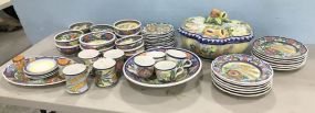 Large Set of Skyros Hand Painted Dinner Ware