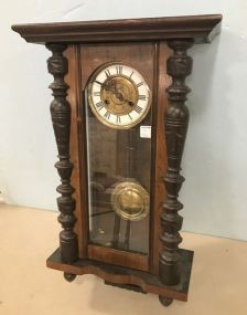 Antique Walnut Victorian Style Wall Clock
