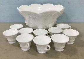 Vintage Milk Glass Punch Bowl