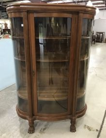 Vintage Mahogany Curved Glass China Cabinet