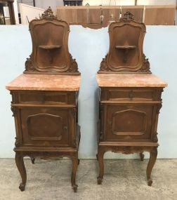 Pair of Antique French Walnut Commode Night Stands