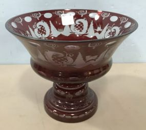 Bohemian Crystal Ruby Red Cut To Clear Compote