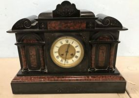 Antique Victorian Style Marble and Slate Mantle Clock