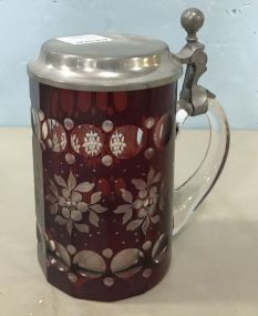 Bohemian Crystal Ruby Red Cut to Clear Beer Stein Tankard