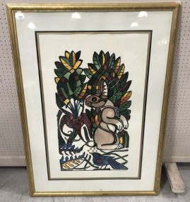 Large Walter Anderson Rabbit-Doe Hand Colored Print