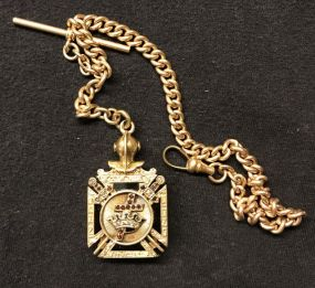 14 Kt Gold Knight Templar Masonic Watch Fob and Chain