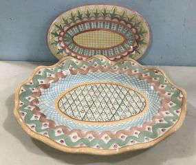 Mackenzie Childs Victoria and Richard Hand Painted Pottery Platters