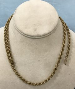 Marked 14K Gold Rope Necklace
