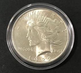 1922 Peace Liberty Silver Coin