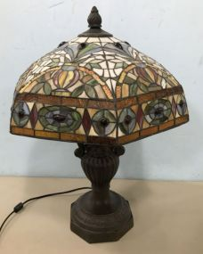 Antique Reproduction Tiffany Style Slag Glass Table Lamp