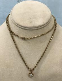 Marked 10K Gold Necklace with 3/4 Karat Diamond Pendant