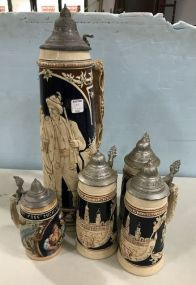 Collection of Five German Beer Steins