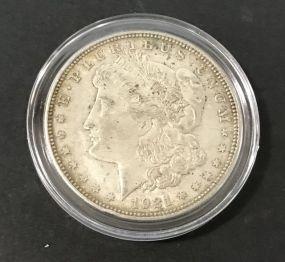 1921 Morgan Silver Dollar D Mark