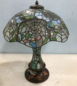 Antique Reproduction Slag Glass Tiffany Style Table Lamp