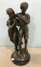 Large Bronze Auguste Moreau Statue of Neoclassic Couple