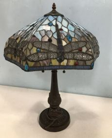 Antique Reproduction Dragonfly Tiffany Style Lamp