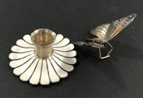 Sterling Silver Butterfly Clip and Vintage Miniature Sterling Candle Holder