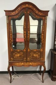 Early 1900's French Style Inlaid China Cabinet