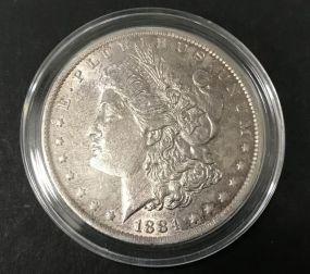 1884 Silver Morgan Dollar O