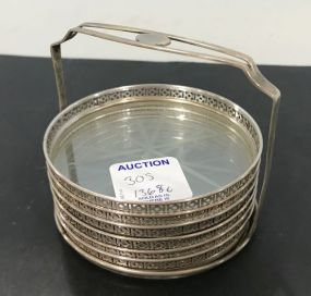 Sterling Rimmed Glass Coasters with Sterling Stand