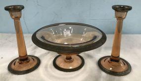 Amber Glass Console Set