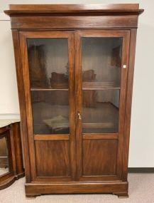 Antique Empire Style Mahogany Double Door China Cabinet
