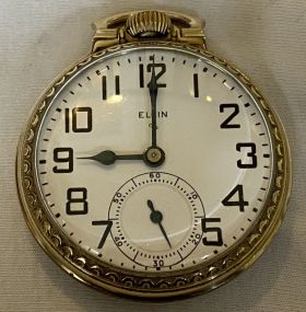 1951 Elgin 17 Jewels 10K Gold Rolled Plate Pocket Watch