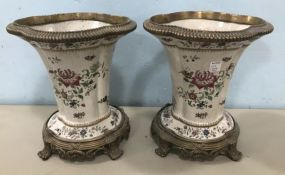 Pair of Modern Decorative Porcelain Urns