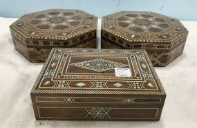 Three Syrian Inlaid Mother of Pearl Boxes