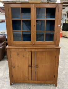 1800's New England Primitive Style Step Back Cabinet