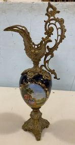 Sevres Style French Porcelain Cobalt Ewer