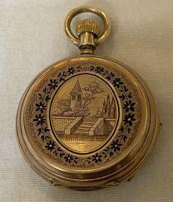 Antique H. Montandon Locle 14K Hunter Case Pocket