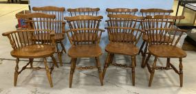 Eight Sprague Carleton Maple Windsor Dining Chairs