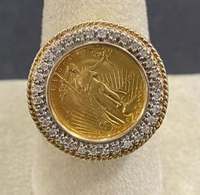 1993 American Gold Eagle 5 Dollar Coin Ring
