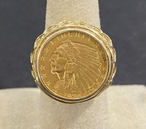 1925 2 1/2 Dollar Gold Indian Quarter Ring