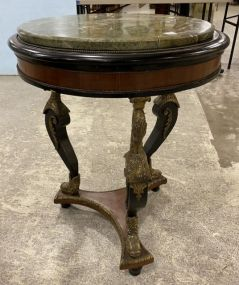 Vintage Old World Bronze Mount Round Seahorse Table