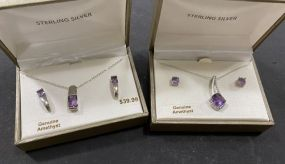 Two Sterling Amethyst Necklaces and Earrings